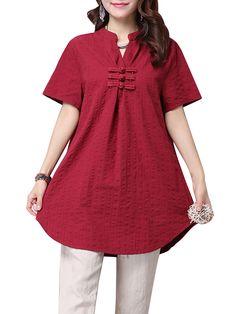 Sale 16% (15.88$) - Casual Loose Button Solid Color Linen Women Long T-Shirt