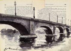 Imprimir en lienzo arte Ink Dibujo Acuarela puente Poster por rcolo