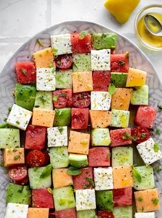 Melon Mosaic Salad with Hot Honey Vinaigrette - Melon Mosaic Easy Salads To Make, Soup And Salad, Pasta Salad, Clean Eating, Healthy Eating, Cheese Tasting, Cooking Recipes, Healthy Recipes, Kitchen Recipes