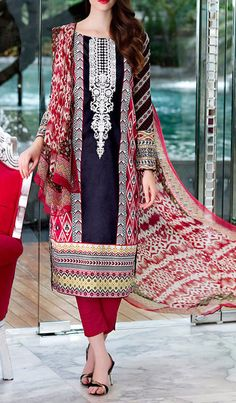 Buy Black/Red Embroidered Cotton Lawn Dress by GulAhmed 2016 Contact: 702-7513523 Email: info@pakrobe.com Skype: PakRobe