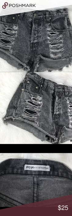 """Nasty Gal x MINKPINK High waisted Shorts Size Small gray destructed denim in gray nasty gal x MINKPINK   waist: 28""""  rise: 10""""  inseam:2.5""""  length:12"""" Nasty Gal Shorts Jean Shorts"""