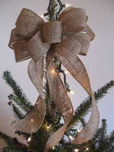 burlap tree topper burlap bow Christmas tree by TheRusticRaven, $15.00