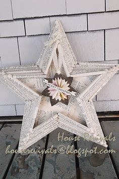 Star Shadow Box From Book Pages And Cardboard