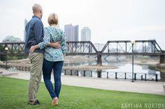 North Bank Park: Columbus, Ohio Skyline Engagement Photos - Kaylina Norton Photography