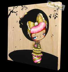 sweet kokeshi girl with pink bangs pinkytoast by pinkytoast, via Flickr