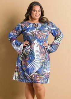Vestido Manga Longa Estampa Cashmere Plus Size - Posthaus