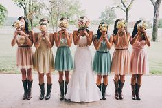 cute bridesmaids dress idea and LOVE the boots