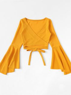 SheIn offers Tie Hem Flounce Sleeve Top & more to fit your fashionable needs. Teen Fashion Outfits, Outfits For Teens, Trendy Outfits, Girl Fashion, Cool Outfits, Summer Outfits, Fashion Dresses, Summer Dresses, Fasion