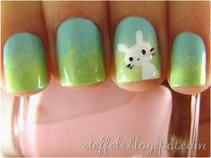 I duplicated this design on my daughter's nails and they came out even prettier than this pic! The bunny was easy to do with the dotters.