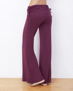 Plum Side Ruched Palazzo Pant - IntiMint