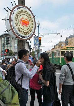Love is… to share a snack. Couple feeding each others at Fisherman's Warf, San Francisco. San Francisco, California, Couples, Photos, St Francis, The California, Couple