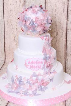 Torturi - Viorica's cakes: Tort botez cu fluturasi delicati pentru Adelina Maria