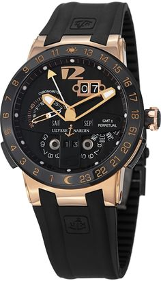 Ulysse Nardin El Toro Men's Black Rubber Strap Automatic Perpetual Calendar Rose Gold Watch 326-03-3