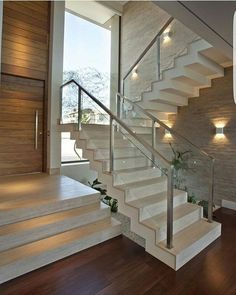 Modern Staircase Design Ideas - Search inspirational photos of modern stairs. - Home Design Home Stairs Design, Railing Design, Interior Stairs, Modern House Design, Staircase Design Modern, Luxury Staircase, Staircase Railings, Staircase Ideas, Railing Ideas