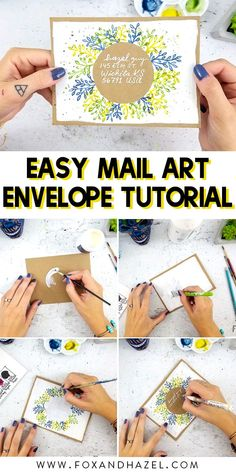 how to create this beautiful mail art envelope with just a handful of supplies!Learn how to create this beautiful mail art envelope with just a handful of supplies! Envelope Tutorial, Envelope Templates, Mail Art Envelopes, Snail Mail Pen Pals, Mail Gifts, Pen Pal Letters, Watercolor Fox, Envelope Art, Art Journal Techniques