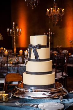 This is a team favorite at @Mandy Dewey Seasons Resort Vail - this #wedding #cake has 4 amazing flavors: Italian Cream, Red Velvet, Nutella and Vanilla. And to to top it off, a gorgeous, AND EDIBLE, ribbon! #Yummy Photography © Autumn Burke