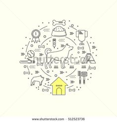 Modern flat style dog care and training  circle conceptual illustration with different dog care elements including dog,cup,booth, bone, brush Dog care and training logo vector.