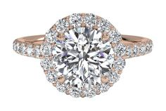 French-Set Halo Diamond Band Engagement Ring - in Rose Gold (0.45 CTW)