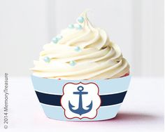 Nautical Baby Shower Cupcake Wrappers Printable Baby Shower Cupcake Liners Cup Cake Wrapper Boy Baby Shower It's a Boy Blue Nautical Theme by MemoryTreasure on Etsy https://www.etsy.com/listing/227972505/nautical-baby-shower-cupcake-wrappers