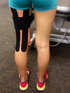 Taping for torn hamstring. we should have done this for your hammy Personal Fitness, Physical Fitness, Kt Tape Hamstring, Sport Strapping, K Tape, Sports Therapy, Kinesiology Taping, Training Motivation, Alternative Treatments