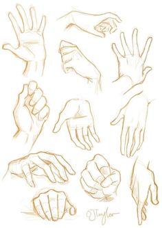 Como desenhar mãos Um tutorial de arte - Arte no Papel Online Anatomy Sketches, Anime Drawings Sketches, Anatomy Drawing, Hand Drawings, Anime Sketch, Sketches Of Hands, Cartoon Drawings, Drawings Of Hands, Fantasy Drawings