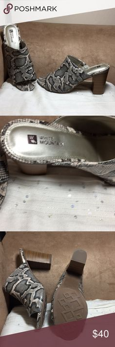 """New white mountain reptile mules 3.5"""" heel size 10 New white Mountain reptile mules with 3.5"""" block heel...white mountain shoes...so comfortable White Mountain Shoes Mules & Clogs"""
