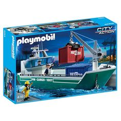 Playmobil Φορτηγό πλοίο με γερανό φορτοεκφόρτωσης 5253