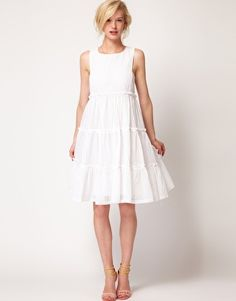 Enlarge See by Chloe Tiered Cotton Midi Dress in Broderie Cotton
