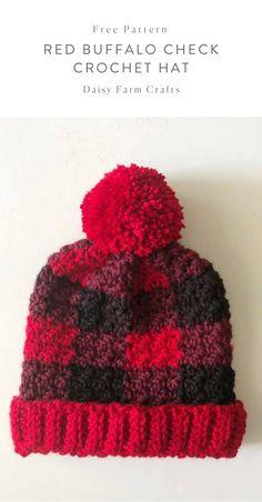 Red Buffalo Check Crochet Hat - Free Pattern Ganchillo Crochet 2ac0431bbc0