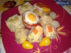 Šampiňóny plnené vajcom (fotorecept) - Recept