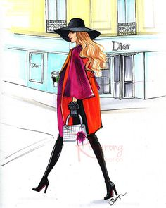 Fashion illustration of Dior fashion lady by Houston fashion illustrator Rongrong DeVoe