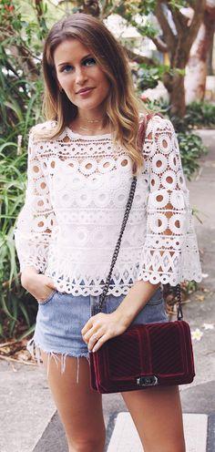 #spring #fashion /  White Lace Top / Denim Short / Burgundy Velvet Shoulder Bag