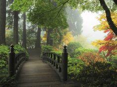 Portland Japanese Garden in Autumn, Portland, Oregon, USA Fotoprint