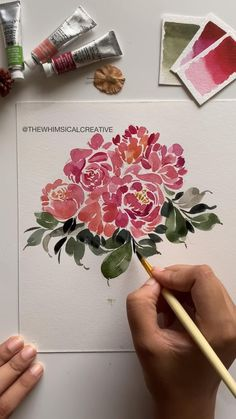 Realistic Flower Drawing, Simple Flower Drawing, Easy Flower Drawings, Flower Art, Beautiful Flower Drawings, Peony Flower, Watercolor Flowers Tutorial, Watercolour Tutorials, Floral Watercolor