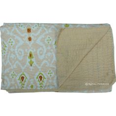 Beige Twin Ikat Quilt Ikat Coverlet Kantha Quilt by RoyalFurnish, $59.99
