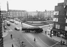 1960's. View on the Hoofddorpplein in Amsterdam. The square is via the Hoofddorpweg and the Zeilbrug connected to Amstelveenseweg. The Hoofddorpweg was originally built in 1927 on the territory of the municipality Sloten, which was annexed by Amsterdam in 1921. Photo Serc. #amsterdam #1960 #Hoofddorpplein
