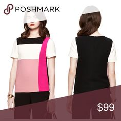 """NWT $228 Kate Spede colorblock top. Size S More stylish than a t-shirt (but every bit as wearable), the cool hues of this colorblocked top were inspired by neapolitan ice cream, one of our favorite sweet treats. 100% polyester. Short sleeves. Crewneck. Colour block front. Size s measures 25.25"""" long from highest shoulder point. centre back zipper with hook & eye. Machine wash cold. Color: pink kate spade Tops Blouses"""