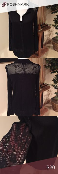 Black knit top with lace croshay detail Smart black top with a croshay lace detail on shoulder, back and sleeves. Mint condition. 525 america Tops Tees - Long Sleeve