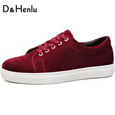 {D&H}Shoes Woman Red wine Velvet loafers Lace-Up Women Casual Shoes 2017 New Fashion Women's Vulcanize Shoes Flat Heel Gift Sock