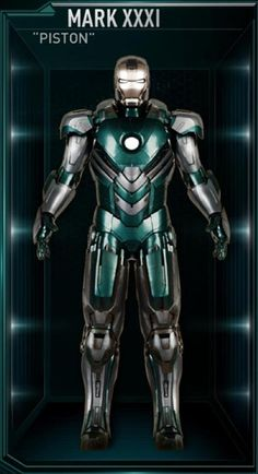 The Piston was the thirty-first Iron Man suit created by Tony Stark, and one of the many armors he developed after the battle for New York against Loki and the Chitauri. The attack had left him with the feeling that the world couldn't be safe for long, and that he needed to build more suits until the next time Earth was in danger. The Piston suit was among those summoned by Stark to battle Extremis-enhanced soldiers assisting Aldrich Killian's plot. It was controlled at the time by...