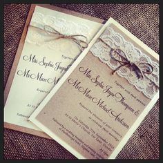 1 vintage/shabby chic 'Sophie' Wedding Invitation with lace and twine in Home, Furniture & DIY | eBay