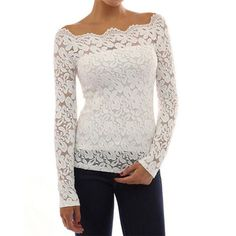 Lace Crochet Long Sleeve Tops