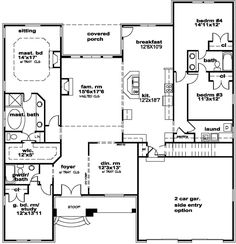 European Style House Plans - 2499 Square Foot Home, 1 Story, 4 Bedroom and 3 3 Bath, 2 Garage Stalls by Monster House Plans - Plan 66-381