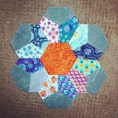 Y Seam Hexagon block (Modern Baby Quilt) from the 'Fresh Quilts' book.