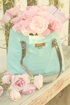 Ana Rosa - gorgeous - pale pink blooms in pretty blue bag. Love Rose, My Flower, Pretty Flowers, Pink Flowers, Rose Pastel, Pretty Pastel, Beautiful Roses, Beautiful Gardens, Colorful Roses