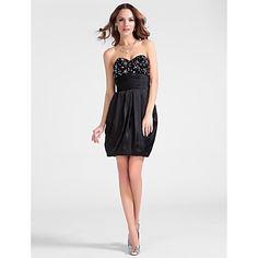 Sheath/Column Sweetheart Short/Mini Satin Chiffon Cocktail Dress  – USD $ 129.99