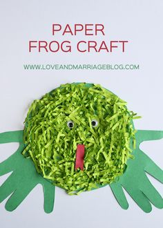 Hand print paper frog craft for kids.