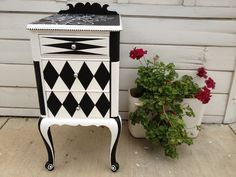 "Custom painted side table ""Louie Louie"", by R. Waring-Crane. Riverside, CA"