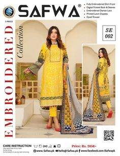 SAFWA Embroidered 3-Piece Collection of Lawn Fabric 2021, Digital Printed 3-Piece Dress. Dresses | Dress Design | Pakistani Dresses | Online Shopping in Pakistan Pakistani Dresses Online Shopping, Online Dress Shopping, Lawn Fabric, Wishlist Shopping, 3 Piece, Designer Dresses, Digital Prints, Trousers, Printed