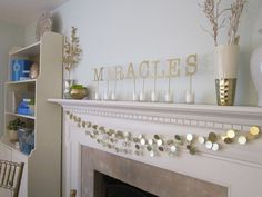 Chanukah Mantel decorating ideas for pennies!